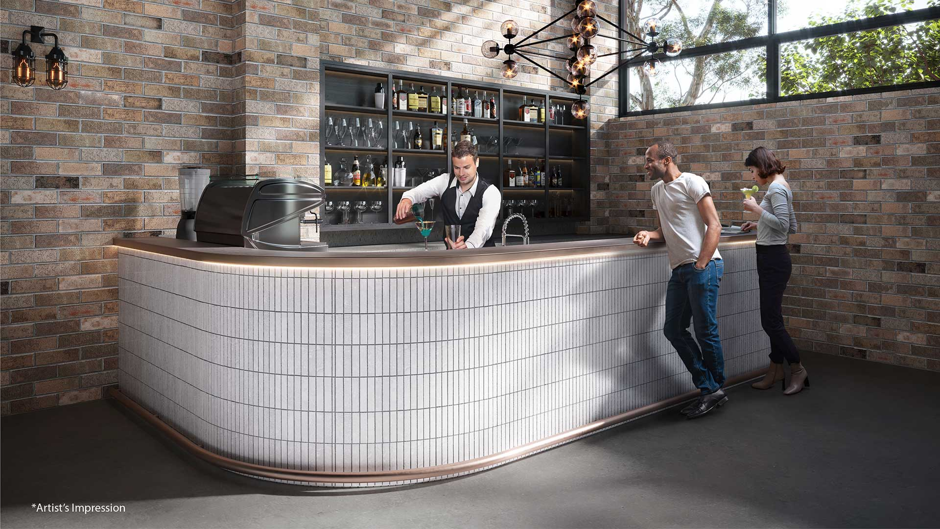 Stylish bar with guests (artists impression)